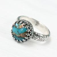Blue copper turquoise ring, 925 sterling silver vintage style floral band, crown gallery setting, December birthday birthstone, handmade