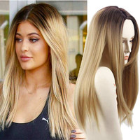 """Blonde Ombre Wig Synthetic Wigs Jenner Hair Style False Hair for Black Women 26"""" Long Straight Blonde Wigs Female Hair"""