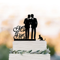 Gay Wedding Cake topper with cat, Cake Toppers with mr and mr, gay silhouette, cake topper for wedding, same sex cake topper