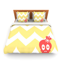 "Nick Atkinson ""Skull II"" Yellow Chevron Lightweight Duvet Cover"