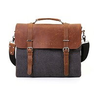 "ECOSUSI Vintage Canvas Leather 15.6"" Laptop Messenger Bag Men Satchel Briefcase"