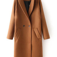 Khaki Double Breasted Slant Pockets Lapel Coat