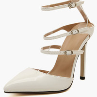 Pointed Close Toe Straps High Heeled Shoes