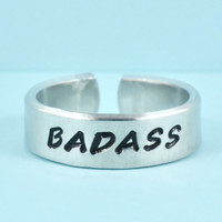 BADASS - Hand Stamped  Word Ring, Men's Ring, Male Friend Gift