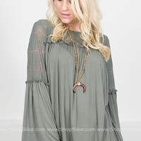 Dainty Lace Bell Sleeve Top
