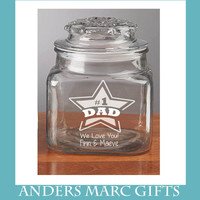 Number 1 Star Dad Candy Jar - Personalized Treats Jar *** with kids' names, message. Number 1 Star Dad Fathers Day Gift for Him under 20