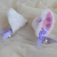 White and pastel lavender clip on cat ears with silver bells - neko lolita cosplay costume - kitten play accessories