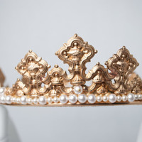 MADELEINE: Gold Coronet/Crown embellished with Swarovski Pearls
