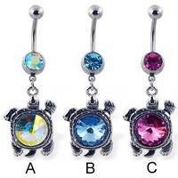 Belly button ring with dangling big jeweled turtle