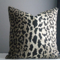 16x16 -24x 24 Leopard print pillow cover, Fabric both sides - All sizes available