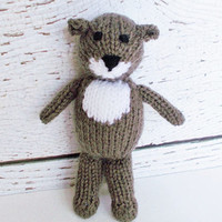 """Hand Knit Otter, Woodland Stuffed Animal, Soft Toy, Ready To Ship, Plush Doll, Baby Boy or Girl Gender Neutral Infant Gift, Handmade Toy 7"""""""