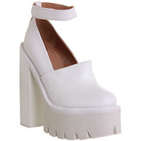 Jeffrey Campbell Skully Platform White Leather - High Heels