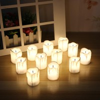 Pack of 12 Warm white Not Flicker Flameless Electric Candles,Battery Powered Tealight Candles Holiday/Wedding Big Votive Candles
