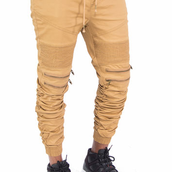 Biker Stretch Fit Joggers with Zippers by Smoke Rise (Khaki)