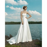 Simple and Delicate Strapless Straight Neckline Rouched Satin A-Line Beach Wedding Dress - Basadress.com