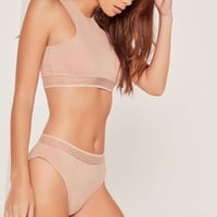 Missguided - Knicker With Sporty Hem Nude With Nude Trim