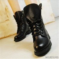 Women Boots British Style Classic Women Motorcycle Martin Boots Punk Bandage autumn Waterproof Shoes Hiking Shoes Black A-8