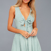 Feeling Good White and Sage Green Gingham Tie Front Skater Dress