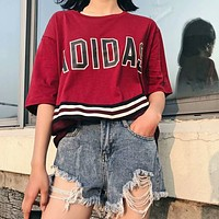 Adidas Fashion Women Loose Print Joining Together Short Sleeve Round Collar T-Shirt Top Purple Red I-AG-CLWM