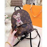 Inseva LV Louis Vuitton Newest Popular Women Casual Mini School Bag Cowhide Leather Backpack Bookbag