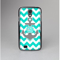 The Teal Green and Gray Monogram Anchor on Teal Chevron Skin-Sert Case for the Samsung Galaxy S4