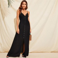 Lace Trim Slip Maxi Dress Women Solid Double V Neck Sexy Dress Sleeveless High Waist Dresses