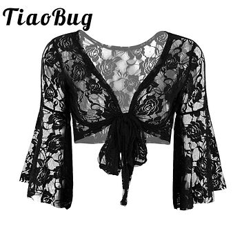 Elegant Women Black Lace Ladies Wedding Party Long Flare Sleeves Shrug Cropped Jacket Shrug For Evening Formal Prom