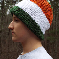 St Patricks Day Hat, Knit Hat in Irish Flag Colors for St Pattys Day, Irish Gify, Green Orange White, St Pats, Thick Warm Winter Hat Knitted