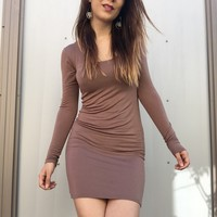 Brown Long Sleeve Bodycon Body Con Stretch Dress