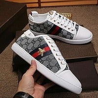 Gucci Bee Print White Sole Man or Woman Fashion Sport shoes Grey