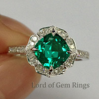 Cushion Emerald Engagement Ring Pave Diamond Wedding 14K White Gold 7mm  Vintage Floral Design HALO