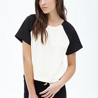 FOREVER 21 Boxy Colorblocked Blouse Cream/Black