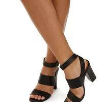 Black Strapped And Wrapped Heels