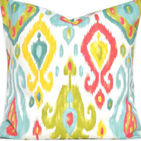 Turquoise Ikat Pillow Cover Green Yellow Red White Decorative 18x18