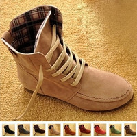 New Women Flat Ankle Snow Motorcycle Boots Female Suede Leather Lace-Up Martin Boot Plus Size 4.5-10 = 1946071428