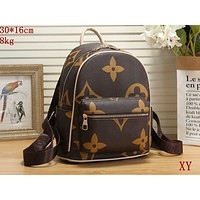 Onewel Louis Vuitton Bag  LV  Contrast Backpack PU School Bag Brown