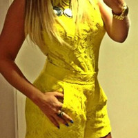Yellow Sleeveless Lace Romper