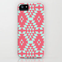 aztec Inspired Pattern Teal & Pink iPhone Case by daniellebourland | Society6
