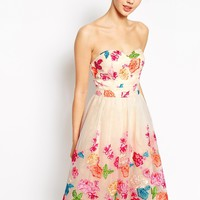 Chi Chi London Bandeau Full Midi Prom Dress In Ombre Multi Coloured Embroidered Floral
