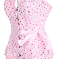 Pink Floral and Stripes Pattern Corset