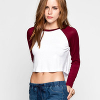 Lily White Womens Crop Baseball Tee Burgundy  In Sizes