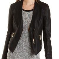 Collarless Faux Leather Moto Blazer by Charlotte Russe - Black