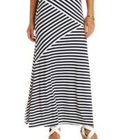 Mixed Stripe Double Slit Maxi Skirt by Charlotte Russe