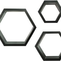 Gallery Solutions Black Hexagallery Decorative Wall Shelves, 3-Piece