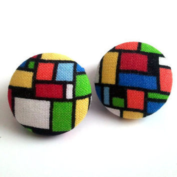 Mosaic colorful button earrings