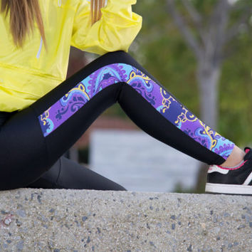 Handmade Black - Purple / Blue / Yellow Printed Leggings Athletic Workout Stretch Leggings Gym Clothes Sexy Womens Yoga Pants Spandex Tights