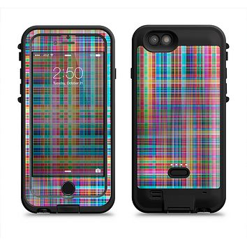 The Neon Faded Rainbow Plaid  iPhone 6/6s Plus LifeProof Fre POWER Case Skin Kit