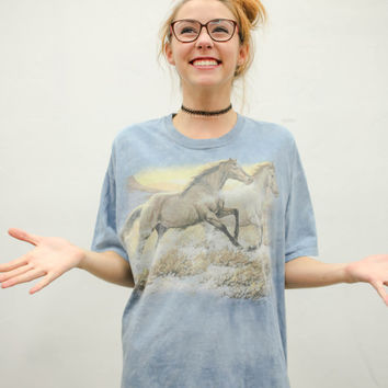 90's pale graphic horses tee, pastel blue horse mustang, cotton tee shirt, 1990s ironic vtg tumblr soft grunge vaporwave, urban outfitters