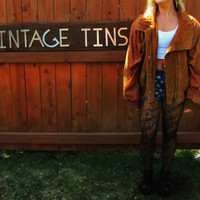 vintage distressed cognac brown leather and suede batwing jacket. East West. distressed 80s hipster leather bomber jacket