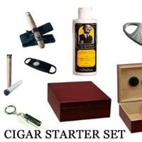 50 Count Cigars Cherry Humidor Cutters Lighter Holder Cigar Caddy Gift Set